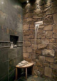 Rock waterfall shower