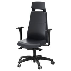 VOLMAR Swivel chair with headrest/armrests - black - IKEA