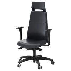 VOLMAR Swivel chair with headrest/armrests - black - IKEA