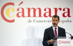 King Felipe VI of Spain attends 'Chamber of Commerce in Spain' act of presentation at Palace Hotel on February 9 2015 in Madrid Spain