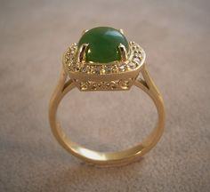 18ct Yellow Gold,Filigree setting, jade & diamond set,Qualified jeweller,New Zealand jade, Jade country Hokitika, Made to order.Contact us www.tpgoldsmiths.co.nz