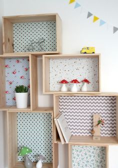 Decorative shelf wooden crate and fabric - Emilie - The Furniture and storage by littleboheme