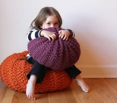 knit giant pillows
