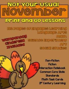 This No Prep Unit includes printables and passages that can easily stand alone or serve as springboards for discussion and expansion. They are November and Thanksgiving themed and most are matched with downable video or interactive clips. This Print and Go unit contains social studies activities, Common Core State Standards aligned English Language Arts and math lessons, art projects, school culture and hope projects, math task cards, a science experiment and an all new Wampanoag Cinderella…