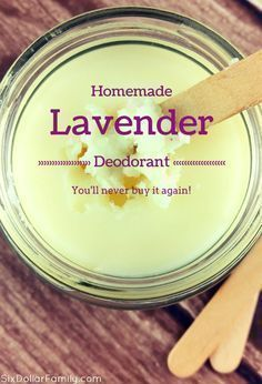 Ditch your tube and whip up a batch of this homemade lavender deodorant! It'… Ditch your tube and whip up a batch of this homemade lavender deodorant! It's all natural and once you've tried it? You'll NEVER buy it again! Diy Deodorant, Home Made Deodorant Recipes, Homemade Natural Deodorant, Homemade Soaps, Coconut Oil Deodorant, Homemade Body Wash, Homemade Neosporin, Coconut Shampoo, Homemade Eye Cream