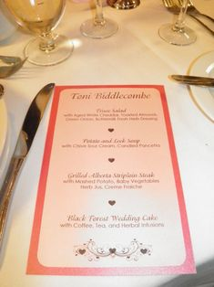 individual menus for each guest to show  menu choices for caterer