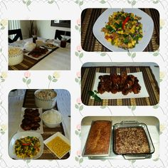 Chicken bbq~Mango salsa~Brownies~Banana bread~Chicken ditalini pasta 😍saturdate lunch w/ the hubby😍