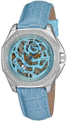 Stuhrling Original Women's 231S.1115I39 Aquadiver Nemo Rose Automatic Skeleton Light Blue Leather Strap Watch Stuhrling Original. Love how they make these watches. Great idea and design.
