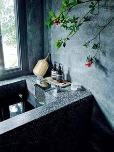 黑色洗石子浴缸