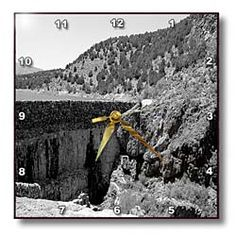The Rock and Cement Wall That Forms a Dam at The Enterprise, Utah Reservoir Done in Black and White Wall Clock
