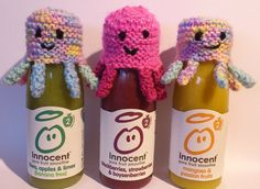 Knitted octopus bottle warmers from Innocent Smoothies Innocent Drinks, Hat Crafts, Big Knits, Apple Fruit, Bobble Hats, Decoration, Charity, Smoothies, Knitted Hats