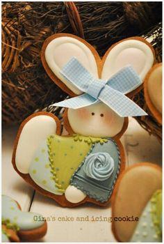 Bunny Cookie Rose Cookies, Baby Cookies, Easter Cookies, Easter Treats, Sugar Cookies, Easter Bunny Eggs, Bunnies, Cookie Designs, Cookie Ideas