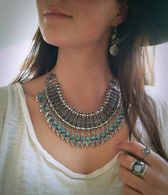 Silver Turquoise Necklace Statement Necklace  by Instyleglamour