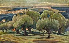 Konstantinos Maleas olive trees in Mytilene Painter Artist, Artist Art, Greece Painting, 10 Picture, Greek Art, Color Of Life, Conceptual Art, Art For Sale, Landscape Paintings