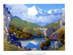Бедоев Ш.Е. «Озеро в горах». 2000г. Холст, масло.