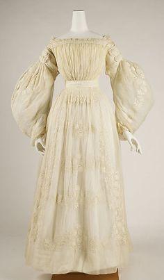 Wedding dress, ca. 1837. French. The Metropolitan Museum of Art, New York. Gift of Mrs. R. T. Auchmuty, 1915 (15.149.1a–c). #wedding #weddingdress