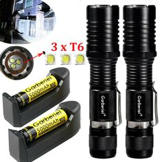 2PCS Powerful 990000LM T6 LED Flashlight Zoom Lamp Military Torch Rechargeable
