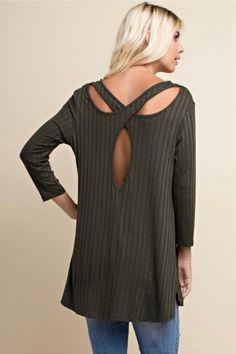 4a6972b3681 Black LongSleeve Open Crisscross Back Tunic Fabric 95% Rayon 5% Spandex  Made in U.S.A