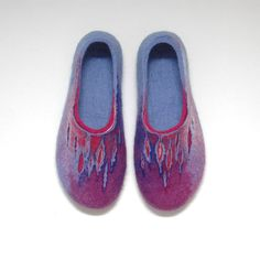 Hand Felted Slippers for Women Bright Summer Nights Purple Lilac Blue