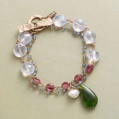 """SUNDOWN BRACELET--Jes MaHarry gathers the dusky hues of lilac quartz, pink tourmalines and blue sapphires with chrome diopside, cultured pearl, 14kt rose and yellow gold. Toggle clasp. Exclusive. Handmade in USA. 7-1/4""""L."""