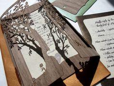 Detail of 'Love Tree' laser cut Walnut Wood wedding invitations