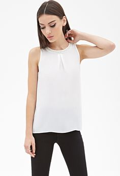Faux Pearl Chiffon Top   FOREVER21 - 2000083860