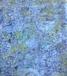 Batik Fabric,Batavian Batik, South Seas Imports, Blue/Green,Flowers/Leaves,By the Yard,45 Inches Wide,Batik Home Decor Fabric,Quilting Batik