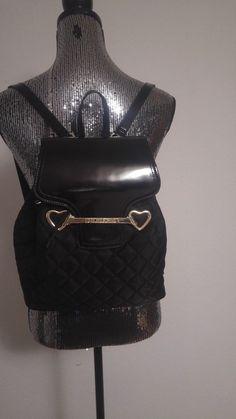 c1e526345417d Original schwarzer gesteppter Rucksack von Love Moschino