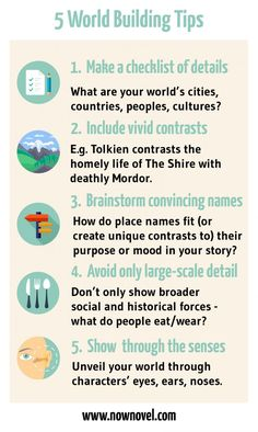Building Tips: Writing Engaging Settings Read the full post for world building tips and examples.Read the full post for world building tips and examples. Creative Writing Tips, Book Writing Tips, Writing Words, Fiction Writing, Writing Resources, Writing Help, Writing Skills, Writing Prompts, Novel Writing Software