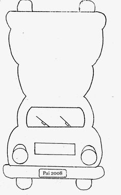 car card template:or make it taller and squarer for a school bus thank you cards. Baby Cards, Kids Cards, Car Card, Card Making Templates, Templates Free, Shaped Cards, Card Patterns, Pop Up Cards, Card Sketches
