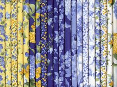 Summer Breeze III Blue and Yellow 20 Fat Quarters by Sentimental Studios for Moda 100 Percent Cotton Quilting Fabric