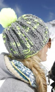 You'll love creating this staggered rib knit hat in Schachenmayr original Lova, the bright contrast shades and chunky weight make this design easy and fast to knit.