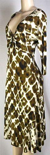 Just Cavalli Print Dress Sz 44 8 Signed Gathered Neckline Metal Brooch New | eBay