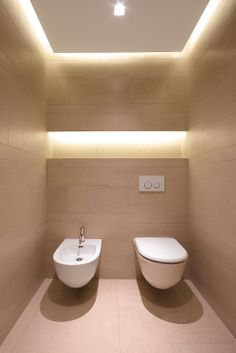 Bathroom Lighting Design une bande lumineuse de led dans les toilettes | toilet, wall hung