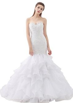 Beauty Bridal Sweetheart Mermaid Gown Plus Size Wedding Dresses For Bride 18WWhite