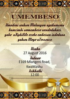 Thando South African Umembeso Traditional Wedding Invitation