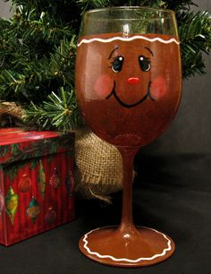 Hand Painted Gingerbread Man Wine Glass by on Etsy Christmas Wine Glasses, Diy Wine Glasses, Hand Painted Wine Glasses, Wine Glass Crafts, Wine Craft, Wine Bottle Crafts, Wine Bottles, Gingerbread Crafts, Christmas Gingerbread