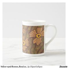 Yellow-eyed flowers, floral art,olive green brown tea cup