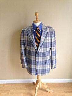 Sale Awesome Brooks Brothers Vintage Mens Indian Madras Blazer - Blue Plaid - Ivy League 40S