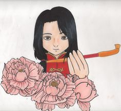 hetalia axis power china aph peony flower draw art wotk copic markers