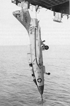 "Ever wonder just how strong a tailhook is? Navy F-9F Cougar. Forget the kitten poster. This brings a whole new dimension to ""Hang in there, baby."": Thank God, Aircraft Carrier, Navy F 9F, Aircraft, Antique Airplanes, Navy Plane, Military Airplanes"