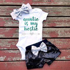 Auntie Is My Bestie Bodysuit Baby Girl Girls by GLITTERandGLAMshop