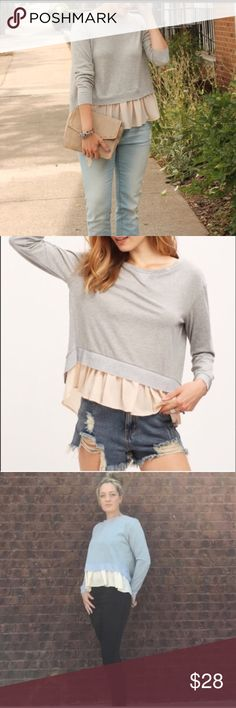 "Split Back Top Long Sleeve Gray Top with a Peach extender on bottom. Has slit on back for a more trendy look. Add your favorite accessory to dress it up  Medium: 42""Bust . Length is 23.5"".  Material is a cotton blend . Bewitched Boutique Tops Tees - Long Sleeve"