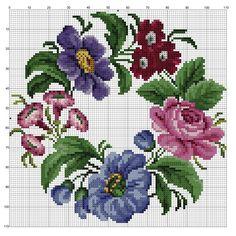 Zz Crochet Cross, Cross Stitch Designs, Cross Stitch Charts, Cross Stitch Patterns, Embroidery Patterns Free, Hand Embroidery, Cross Stitch Embroidery, Violets, Pillowcase Pattern