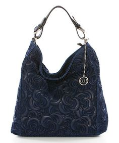 Navy Floral-Embossed Leather Hobo  zulilyfinds Blu 4ae811c26cc2