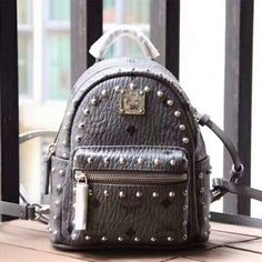 952d1efdc00b7 MCM X-Mini Stark Outline Studded Visetos Backpack In Grey