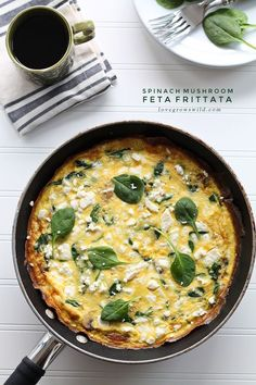 A healthy frittata is a quick and easy meal for any time of day! Try this Spinach Mushroom Feta Frittata from LoveGrowsWild.com