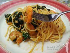 Las Recetas de Malena: Espaguetis con gambas y espinacas