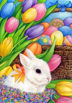 Custom Decor Flag - Bunny & Basket Decorative Flag at Garden House Flags at… Easter Art, Easter Crafts, Easter Eggs, Ostern Wallpaper, Lapin Art, Image Nature Fleurs, Easter Paintings, Easter Illustration, Easter Pictures