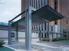 이시카와 현 청사 건설 공사 2 Shade Structure, Parking Design, Bus Stop, Canopy, Arcade, Entrance, Architecture Design, Solar, Stairs